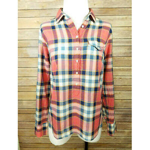 J.Crew Pink Blue Plaid Button Up Long Sleeve Top